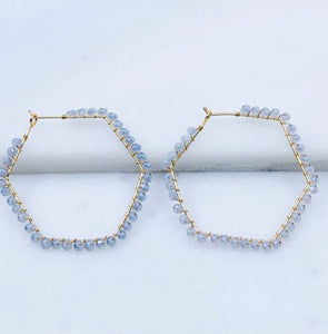 Glass Beaded Hoop Earrings, Grey