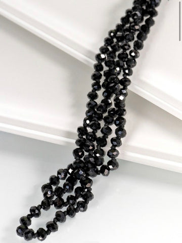 Long Beaded Necklace, Black