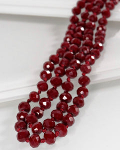Long Beaded Necklace, Burgundy