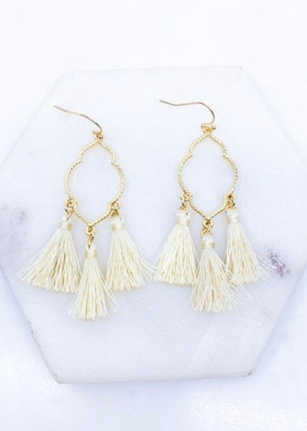 Tassel Earrings, Ivory