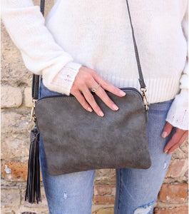 Tassel Crossbody Bag, Distressed Gray