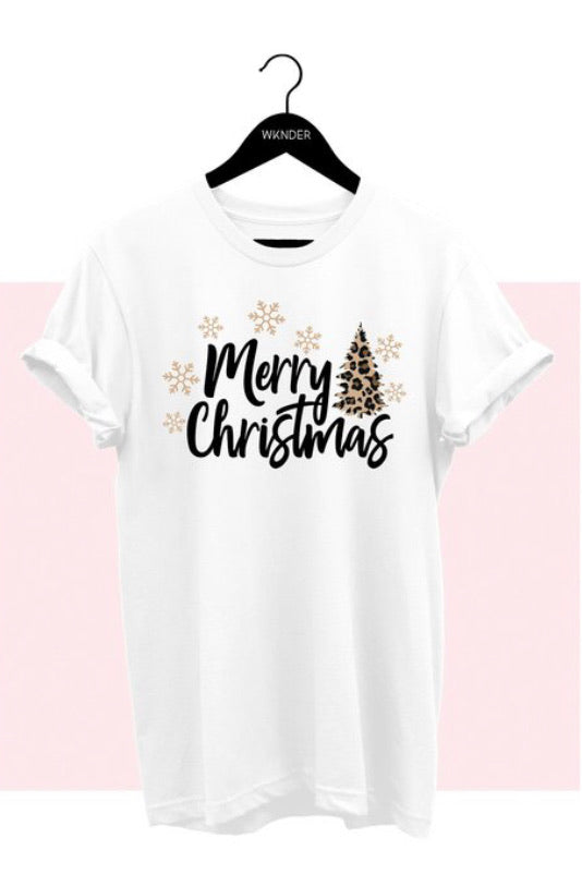 Leopard Christmas Tee, White