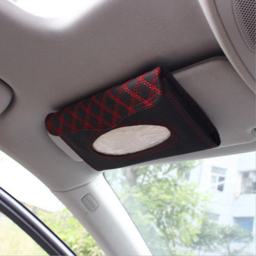 Car Sunvisor Tissue Box Leather Tissue Boxes Hanging Holder