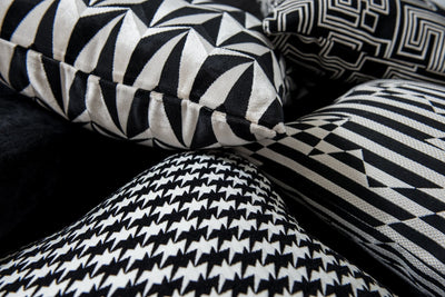 Cushion in Stripey Zig Zag Birds Monochrome - Zanders & Co