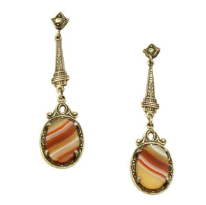 Art Deco Agate Sterling Silver Earrings Front