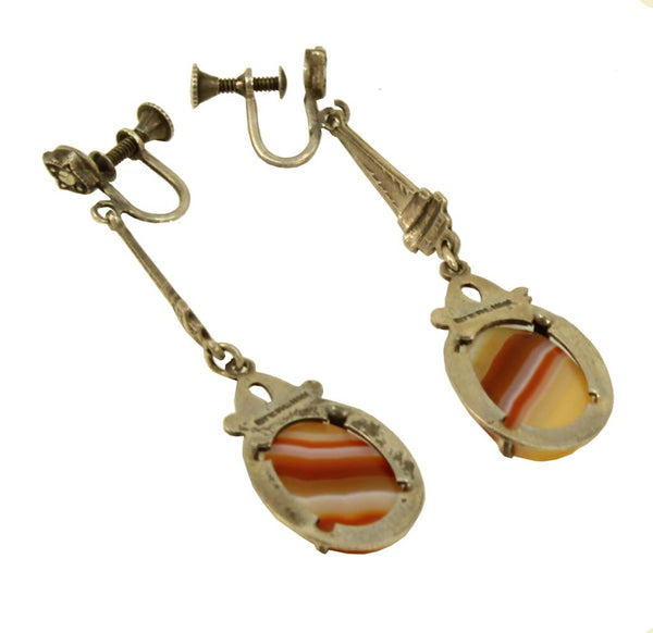 Art Deco Agate Sterling Silver Earrings Back