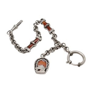 Victorian Scottish Agate Silver Watch Chain and Horse Charm Fob Full View