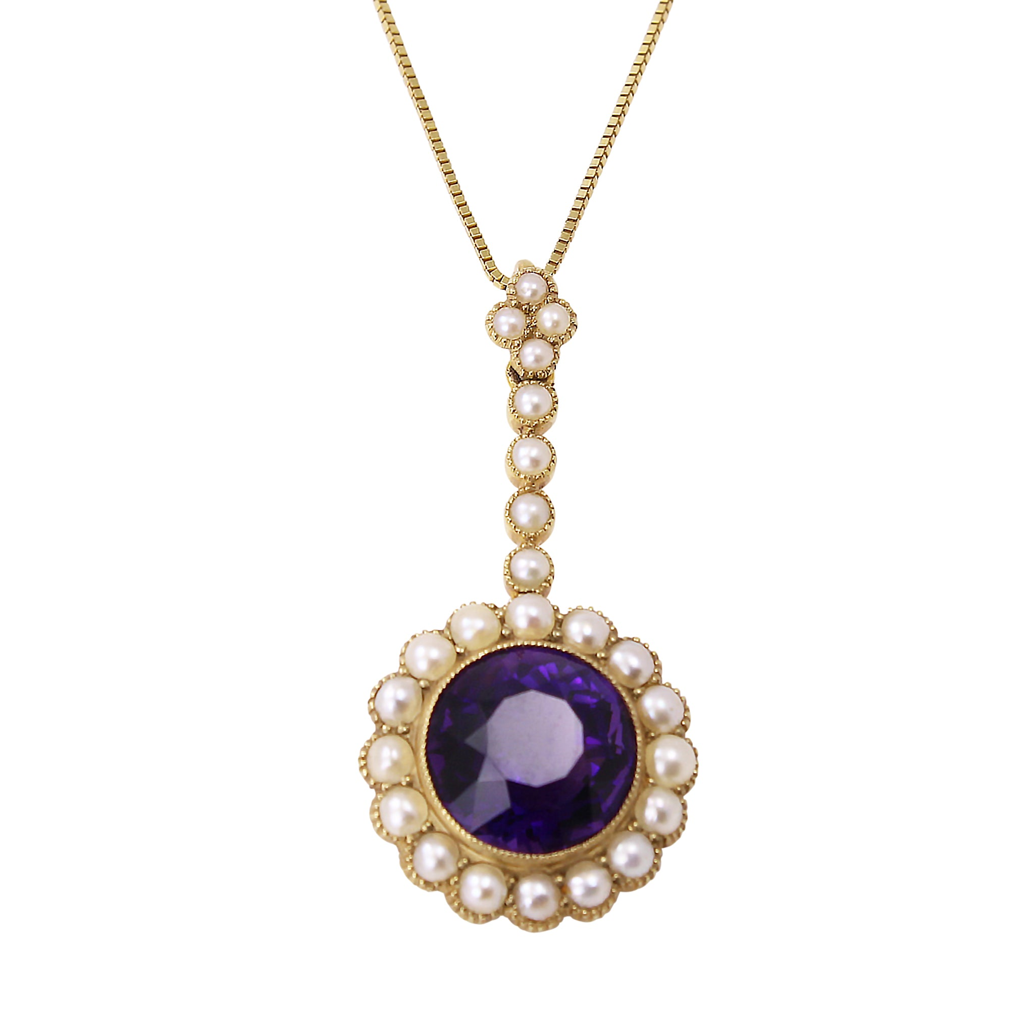 Edwardian 15 ct Gold Amethyst and Pearl Pendant Front