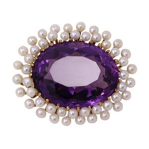 Victorian 14k Yellow Gold Amethyst and Seed Pearl Pin Front