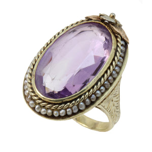 Vintage 14K 1920s Multicolor Gold Seed Pearls Large Amethyst Ring Front