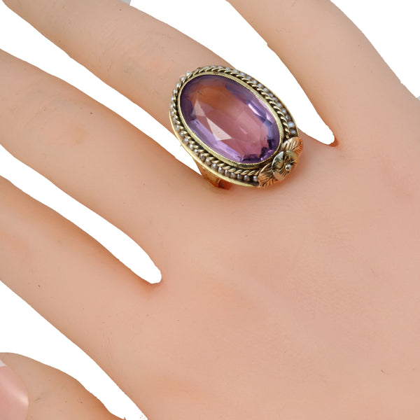 Vintage 14K 1920s Multicolor Gold Seed Pearls Large Amethyst Ring Worn