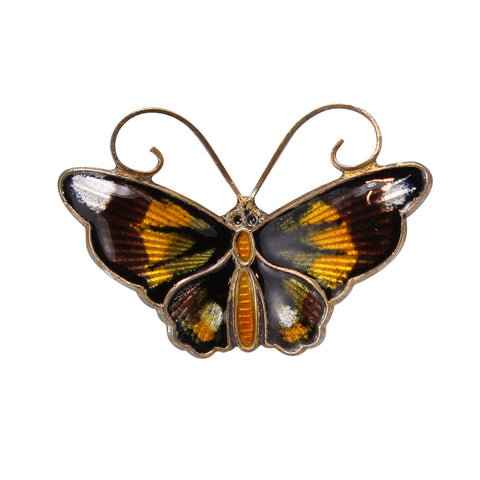 David Andersen Sterling Enamel Butterfly Pin Front