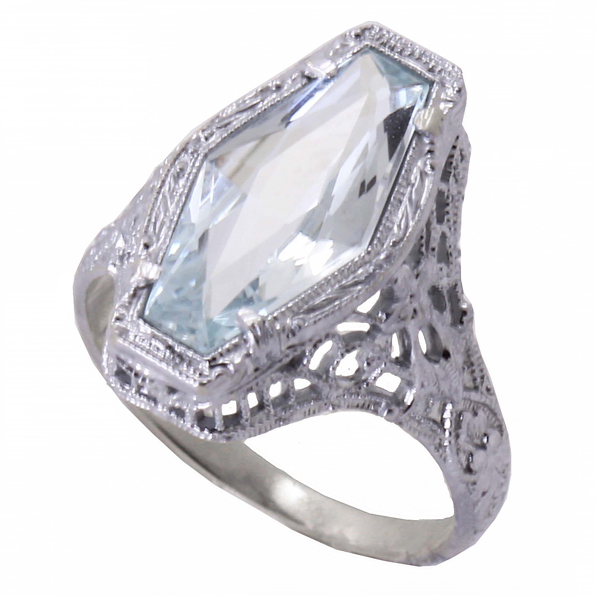 Art Deco 14k White Gold Filigree and Aquamarine Ring Front