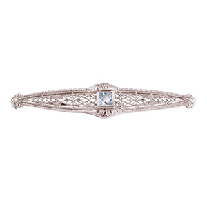 Art Deco Aquamarine 14k White Gold Filigree Pin Front