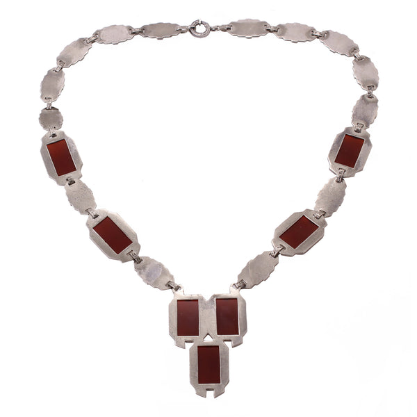 Art Deco Carnelian and Marcasite Sterling Necklace Back