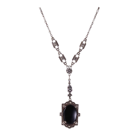 Art Deco Sterling Onyx Necklace Front