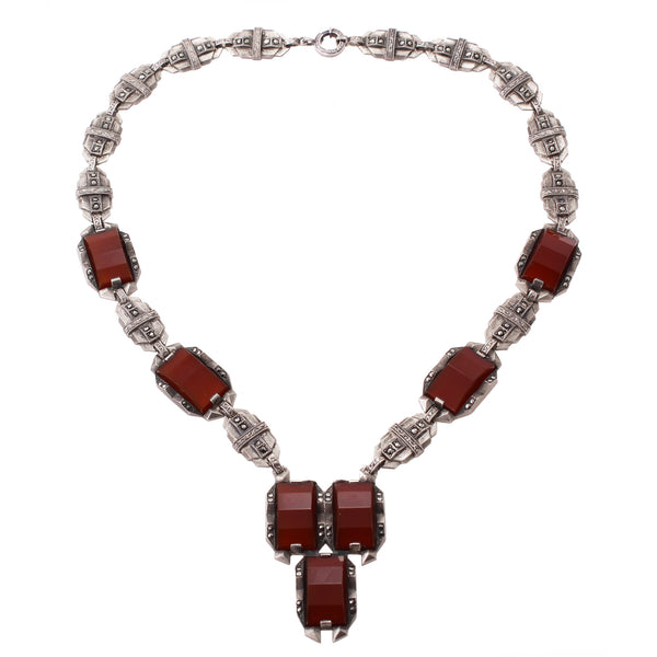 Art Deco Carnelian and Marcasite Sterling Necklace Front