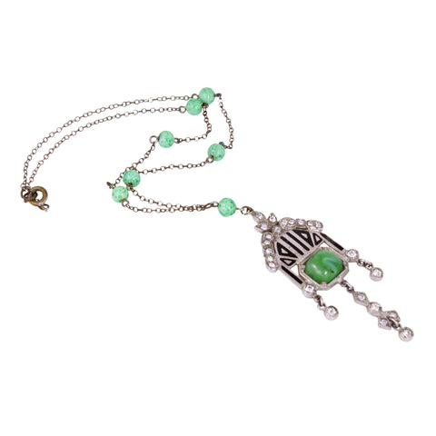 Art Deco Enamel and Green Glass Cabochon Necklace Full