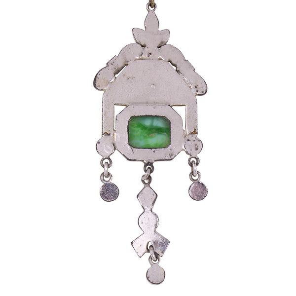 Art Deco Enamel and Green Glass Cabochon Necklace Back