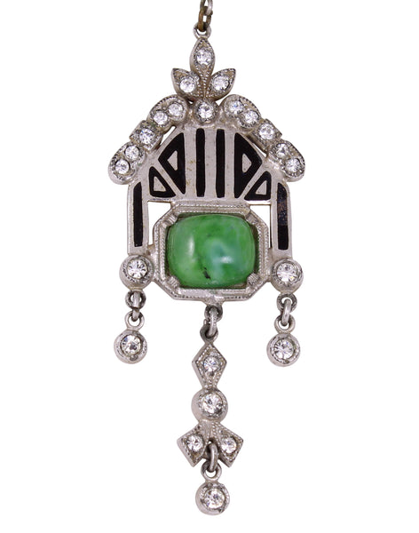 Art Deco Enamel and Green Glass Cabochon Necklace Front