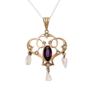Art Nouveau 10k Gold, Amethyst Glass and Pearl Pendant Front