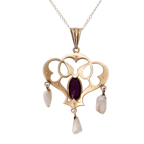 Art Nouveau 10k Gold, Amethyst Glass and Pearl Pendant Back