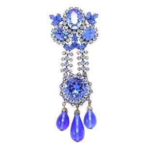 Incredible Large Austria Sapphire Blue Rhinestone Pin Front