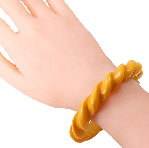Yellow Bakelite Carved Rope Bracelet Worn