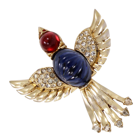 Ruby Red and Sapphire Blue Glass Cabochon Bird Pin Front