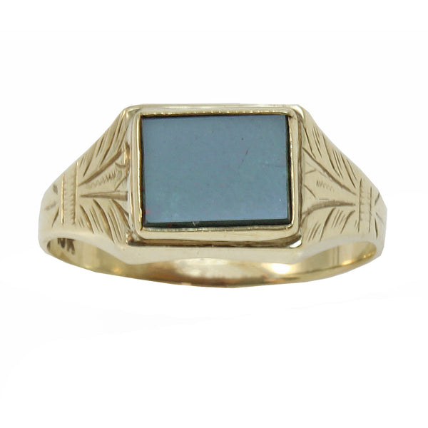 Vintage Bloodstone 10k Yellow Gold Ring Front