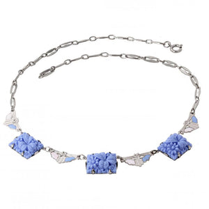 Pale Blue Glass Flowers and Enamel Necklace Front