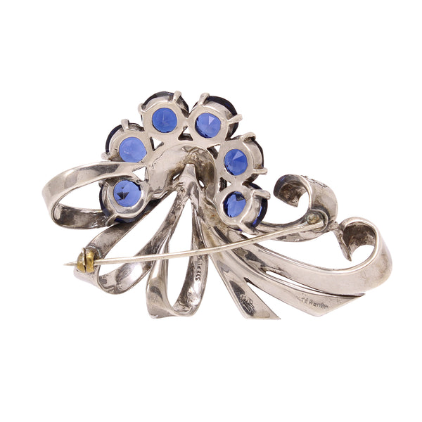 Boucher Sterling Silver and Sapphire Rhinestone Pin Back