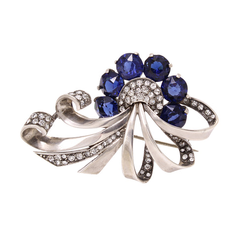 Boucher Sterling Silver and Sapphire Rhinestone Pin Front