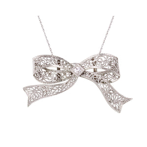 Art Deco 14k White Gold and Platinum Filigree Diamond Bow Pendant Front