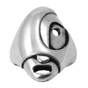 Brunel Italy Sterling Silver Modernist Face Ring