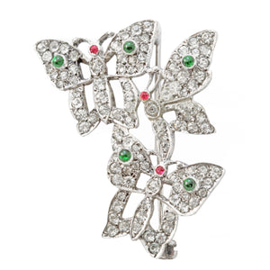 English Sterling Silver Paste Rhinestone Butterfly Pin/Brooch Front