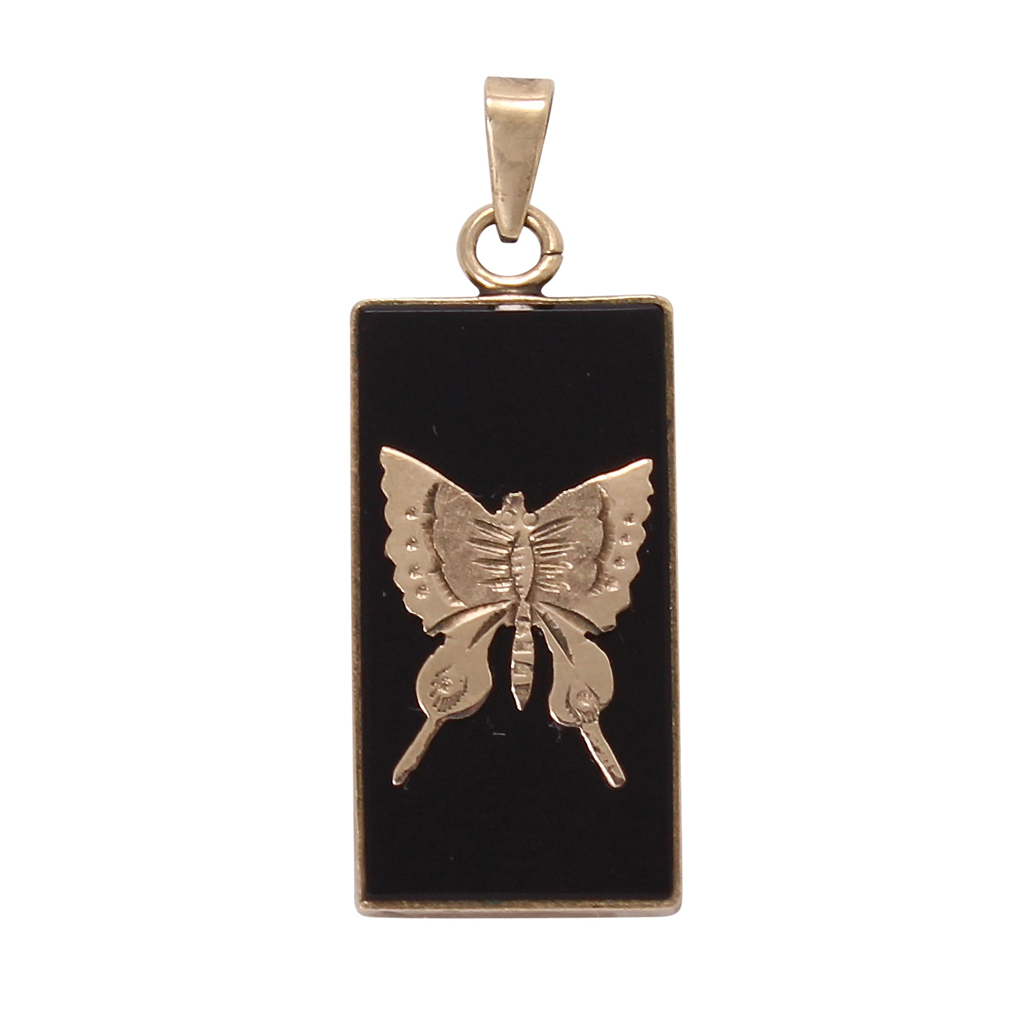 Onyx and 10k Yellow Gold Butterfly Pendant Front