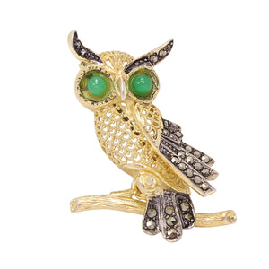 Alice Caviness Sterling Vermeil and Marcasite Owl Pin Front