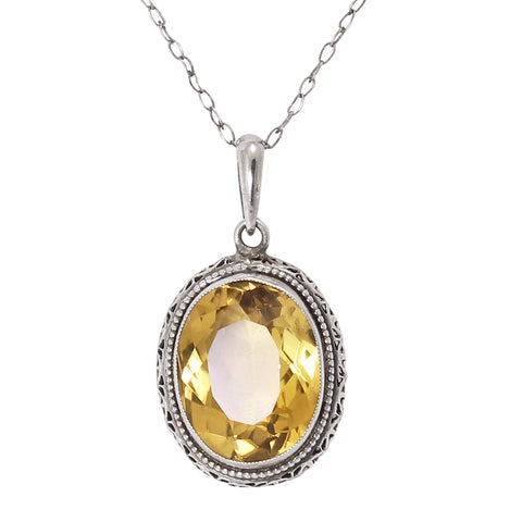 Citrine 10ct Silver Filigree Pendant