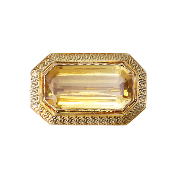 Victorian 14k Yellow Gold Citrine Pin