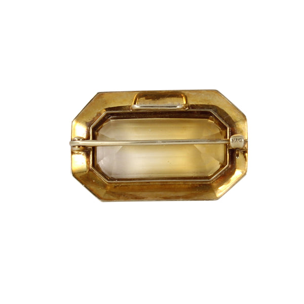 Victorian 14k Yellow Gold Citrine Pin Back
