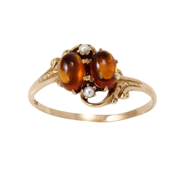 Victorian 14k Yellow Gold Citrine and Pearl Ring Front