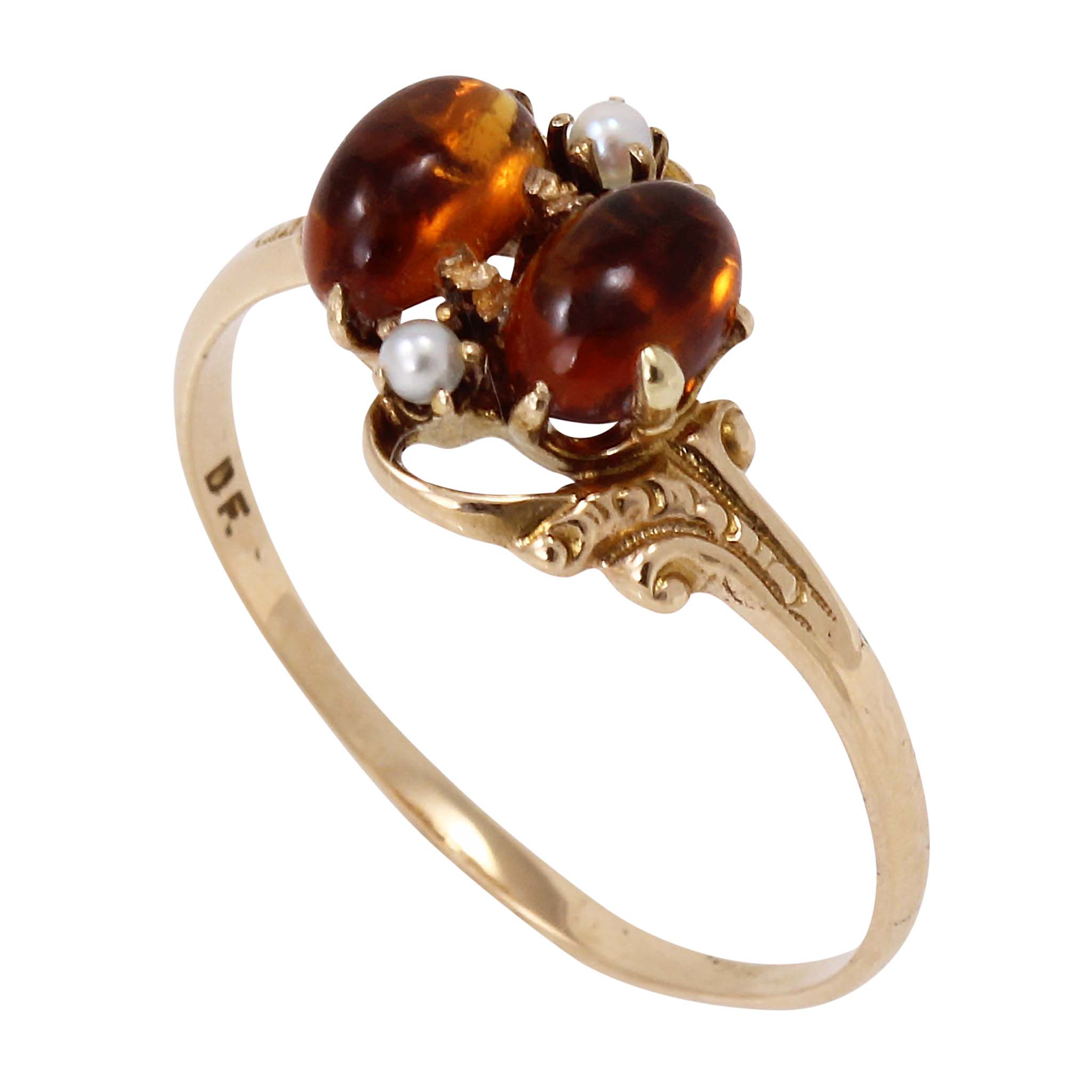 Victorian 14k Yellow Gold Citrine and Pearl Ring