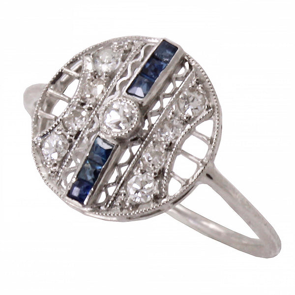 Platinum and 14k Gold Diamond and Blue Sapphire Ring Front
