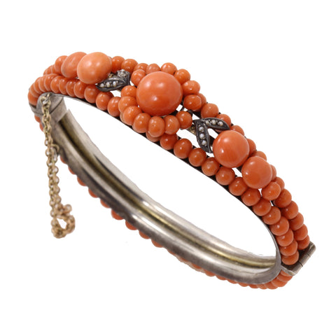 Antique Victorian Silver and Natural Coral Bracelet Front