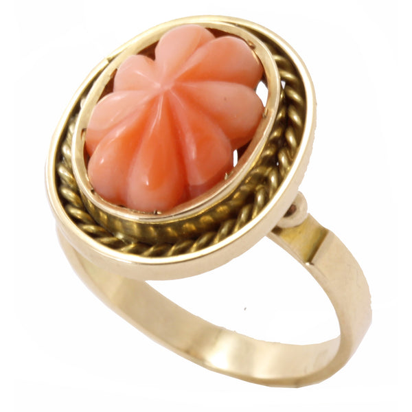 Vintage Carved Coral 14k Gold Ring Front