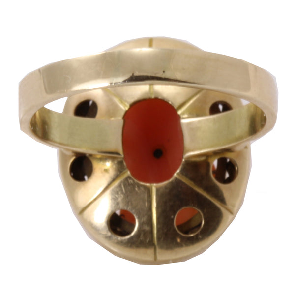 Vintage Carved Coral 14k Gold Ring Back
