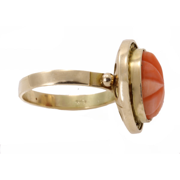 Vintage Carved Coral 14k Gold Ring Side