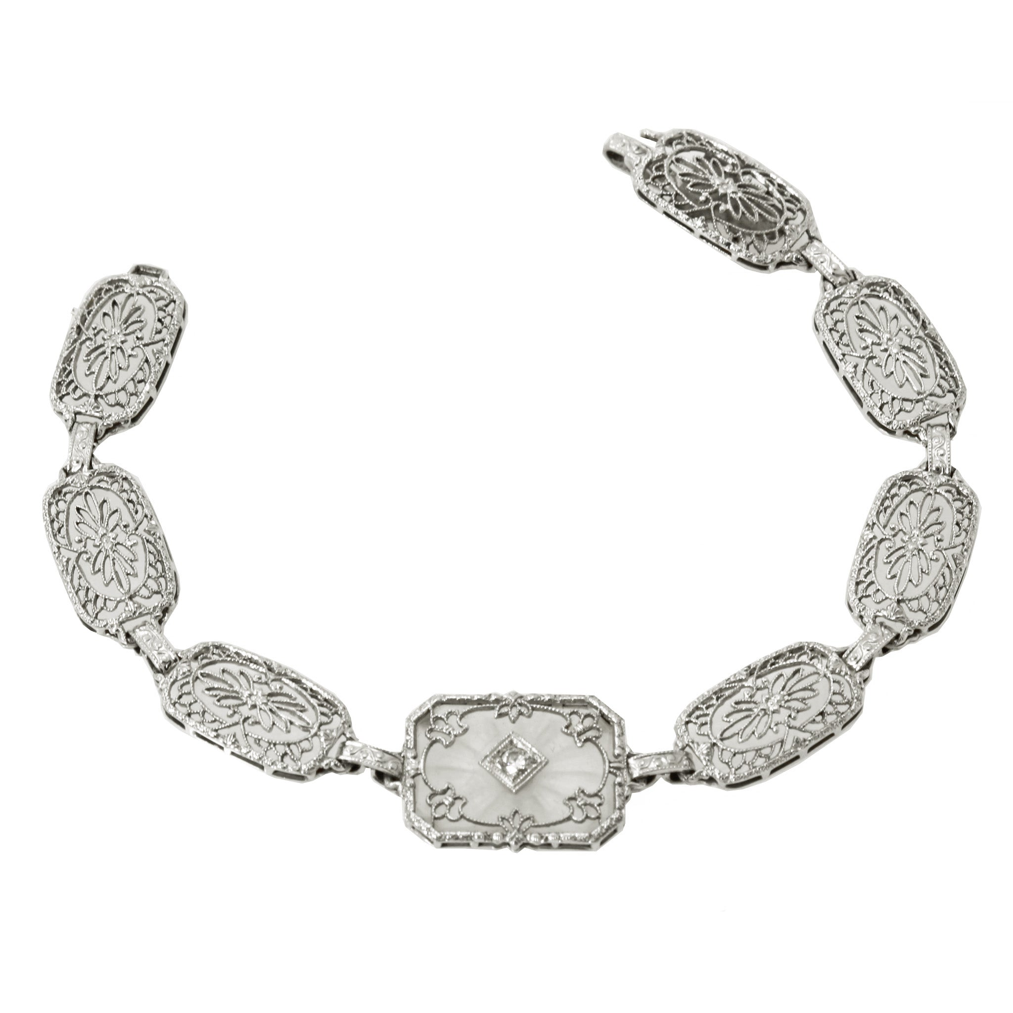 Art Deco 14k Gold, Platinum, Diamond and Rock Crystal Filigree Bracelet Front