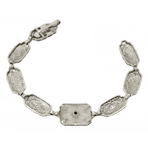 Art Deco 14k Gold, Platinum, Diamond and Rock Crystal Filigree Bracelet Back